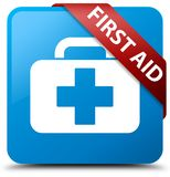 First aid cyan blue square button red ribbon in corner. First aid isolated on cyan blue square button with red ribbon in corner abstract illustration Stock Photos