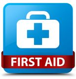 First aid cyan blue square button red ribbon in middle. First aid isolated on cyan blue square button with red ribbon in middle abstract illustration Royalty Free Stock Photo