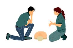 First aid demonstration illustration. Doctor give advice trainee about rescue technique. stock illustration