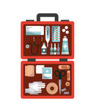 First aid design. First aid box with medicine equipment over white background. colorful design. vector illustration Stock Image