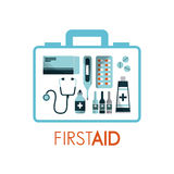 First aid design. First aid box with medicine equipment over white background. colorful design. vector illustration Royalty Free Stock Photos