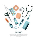 First aid design. First aid box medicine equipment over white background. colorful design. vector illustration Stock Photos