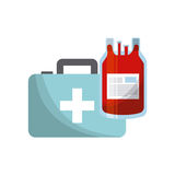 First aid design. First aid briefcase and blood bag over white background. colorful design. vector illustration Stock Photo