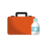 First aid design. First aid briefcase and medicine bottle over white background. colorful design. vector illustration Stock Photos