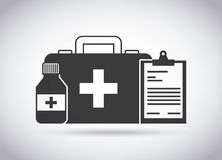 First aid design. First aid briefcase and medicine bottle over white background. vector illustration Stock Photography