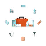 First aid design. First aid briefcase and medicine equipment icons around over white background. colorful design. vector illustration Stock Image