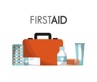First aid design. First aid briefcase with medicine equipment icons over white background. colorful design. vector illustration Royalty Free Stock Photography