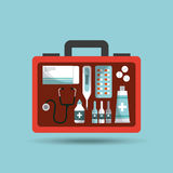 First aid design. First aid briefcase with medicine equipment over blue background. colorful design. vector illustration Royalty Free Stock Images