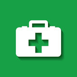 First aid design. First aid briefcase over green background. colorful design. vector illustration Stock Photo
