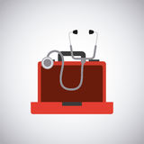 First aid design. First aid briefcase and sthetoscope over white background. colorful design. vector illustration Royalty Free Stock Photo