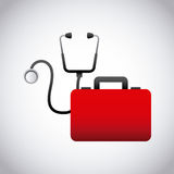 First aid design. First aid briefcase and sthetoscope over white background. colorful design. vector illustration Stock Photography