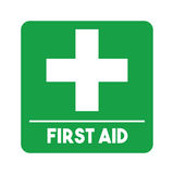 First aid design. First aid emblem with cross icon over white background. colorful design. vector illustration Stock Image