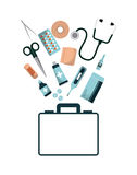 First aid design. Fist aid briefcase with medicine equipment over white background. colorful design. vector illustration Stock Photo