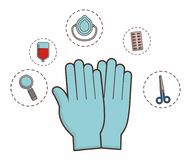 First aid design. Gloves with first aid elements around over white background colorful design vector illustration Royalty Free Stock Image
