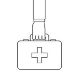First aid design. Hand with first aid briefcase over white background. vector illustration Royalty Free Stock Image