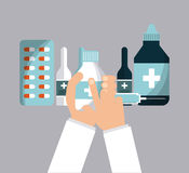 First aid design. Hand holding a medicine bottle and equipment of   first aid over gray background. colorful design. vector illustration Royalty Free Stock Photos