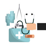First aid design. Hand holding a sthetoscope and first aid briefcase over white background. colorful design. vector illustration Royalty Free Stock Images