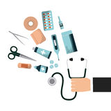 First aid design. Hand with first aid medicine equipment over white background. colorful design. vector illustration Royalty Free Stock Images
