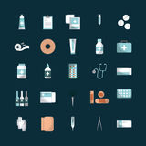 First aid design. Medicine equipment of first aid over blue background. colorful design. vector illustration Stock Photography