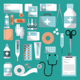 First aid design. Medicine equipment of first aid over turquoise background. colorful design. vector illustration Royalty Free Stock Photos