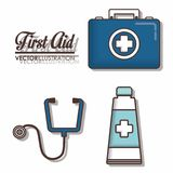 First aid design. First aid related icons over background colorful design vector illustration Royalty Free Stock Photos