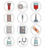 First aid design. First aid related icons over background colorful design vector illustration Royalty Free Stock Photo