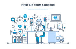First aid from doctor, modern medicine, medical care, healthcare, insurance. Royalty Free Stock Photo