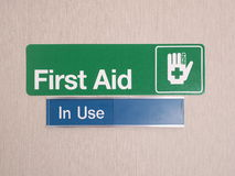 First aid door sign with occupied indicator. At an industrial first aid room, Melbourne 2015 stock photography