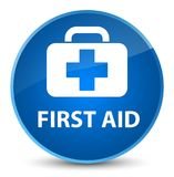 First aid elegant blue round button. First aid isolated on elegant blue round button abstract illustration Royalty Free Stock Photo