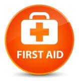 First aid elegant orange round button Stock Photos