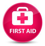First aid elegant pink round button Stock Image