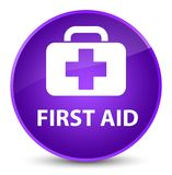 First aid elegant purple round button. First aid isolated on elegant purple round button abstract illustration Royalty Free Stock Photos