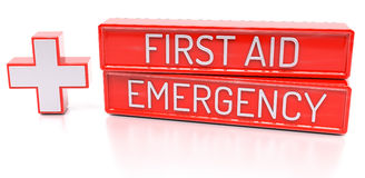 First aid, Emergency - 3d banner,  on white background Stock Image
