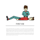 First aid emergency. Treatment and cpr technique in life threatening situations flat icons collection abstract isolated vector illustration Royalty Free Stock Photos