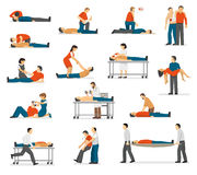 First Aid Emergency Flat Icons Set Stock Photos