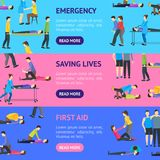 First Aid Emergency Help with People Banner Horizontal Set. Vector. First Aid Emergency Help with People Banner Horizontal Set Flat Style Design. Vector Stock Image