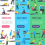 First Aid Emergency Help with People Banner Vecrtical Set. Vector. First Aid Emergency Help with People Banner Vecrtical Set Flat Style Design. Vector Stock Photos