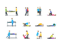 First Aid Emergency Help with People Set. Vector Stock Photos