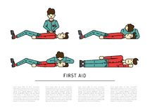 First aid emergency. Treatment and cpr technique in life threatening situations flat icons collection abstract isolated vector illustration Stock Photo