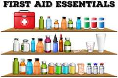 First aid essentials on the shelf. Illustration Stock Photo