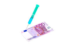 First aid for Euro. A 500 Euro bill being given an injection with a syringe Stock Photo