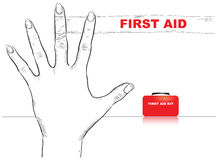 First Aid Finger. Creativity on first aid. Bandaged finger. Vector illustration Royalty Free Stock Photography