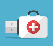 First aid flash drive. First aid kit flash drive on blue background. Backup, computer and help concept. Flat design. Vector illustration. EPS 8, no transparency Stock Image