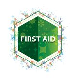 First Aid floral plants pattern green hexagon button stock images