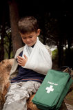 First Aid in the Forest Stock Image