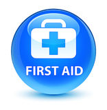 First aid glassy cyan blue round button Royalty Free Stock Images