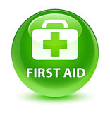 First aid glassy green round button. First aid isolated on glassy green round button abstract illustration Stock Images
