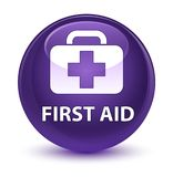 First aid glassy purple round button. First aid isolated on glassy purple round button abstract illustration Royalty Free Stock Images