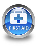 First aid glossy blue round button. First aid isolated on glossy blue round button abstract illustration Royalty Free Stock Photo