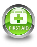 First aid glossy green round button. First aid isolated on glossy green round button abstract illustration Royalty Free Stock Photography